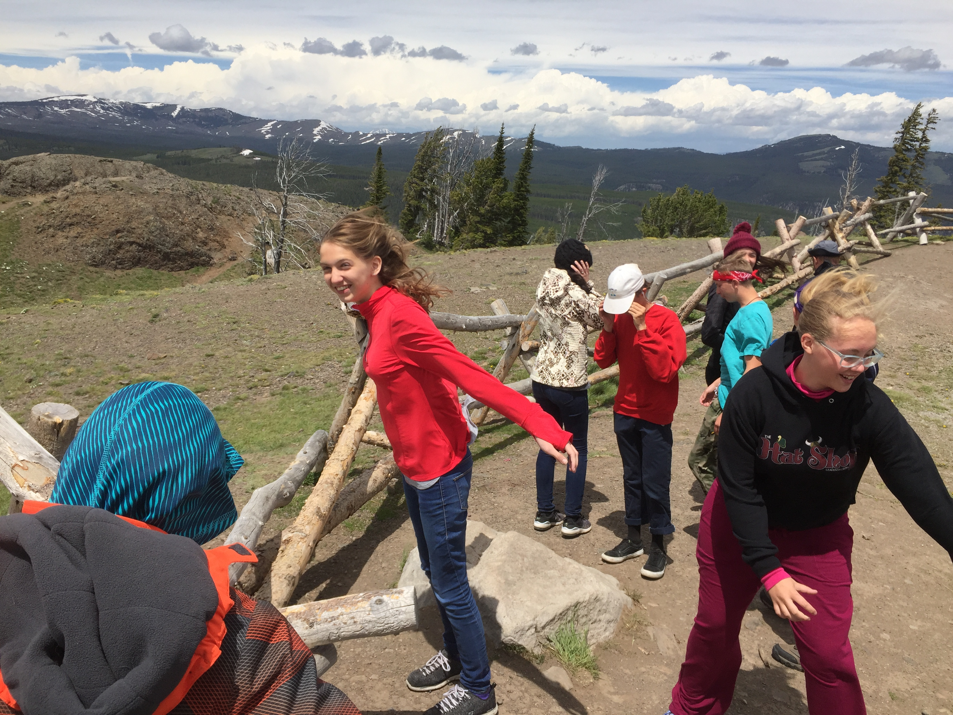 Students on boardwalk at Yellowstone National Park