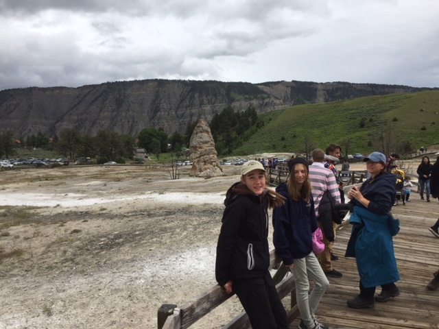 Students on boardwalk at Yellowstone