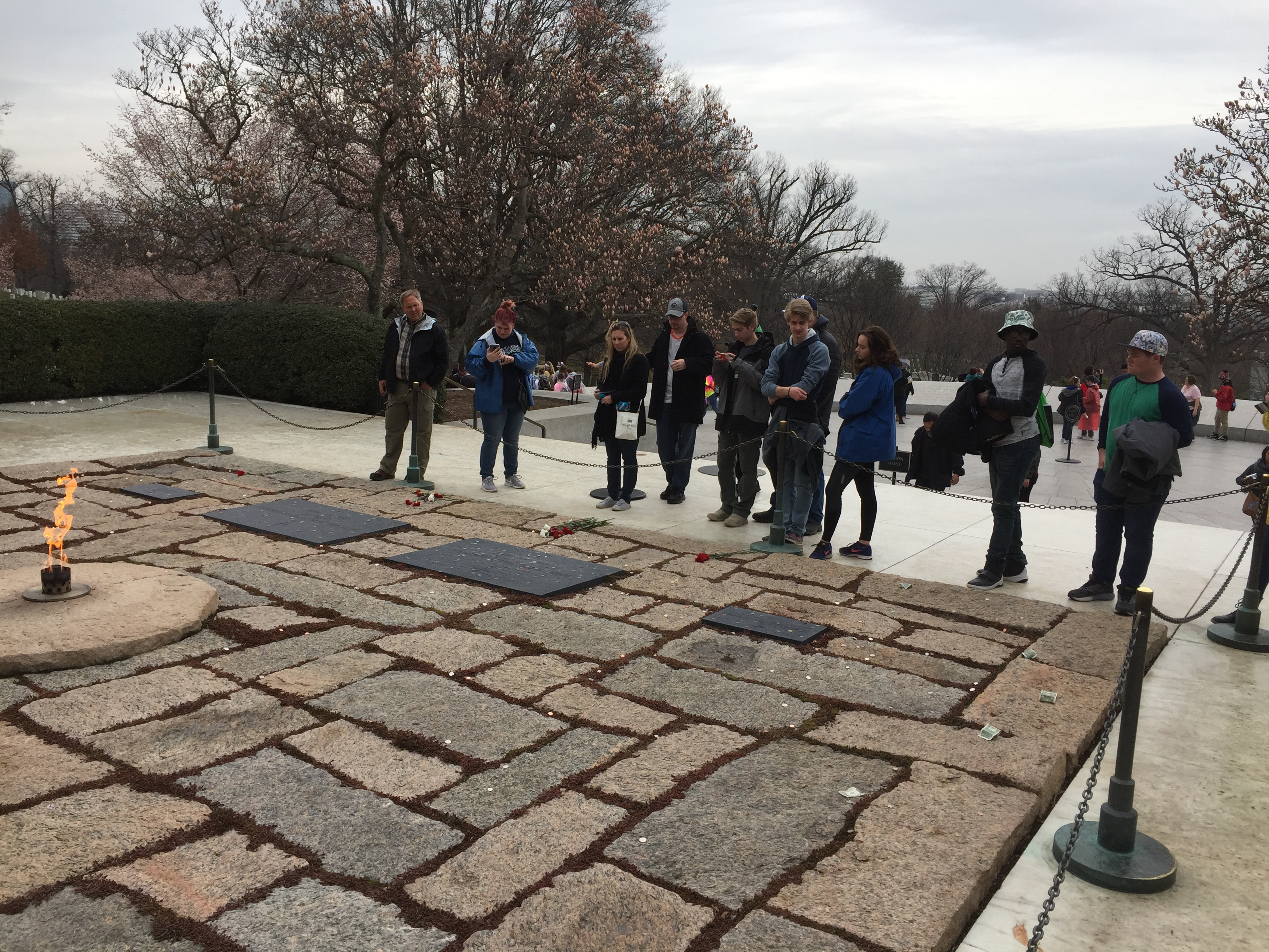 Students at John F. Kennedy gravesite